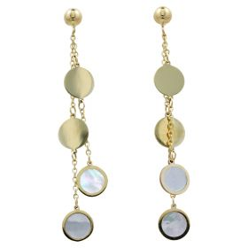 Round yellow gold earrings with mother-of-pearl