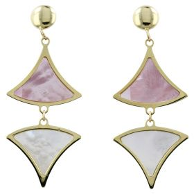 White and pink mother-of-pearl gold earrings