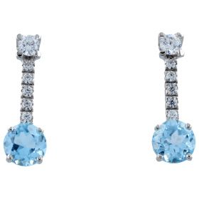 14kt white gold earrings with blue topaz | Gioiello Italiano