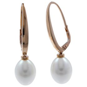 Rose gold earrings with oval pearls