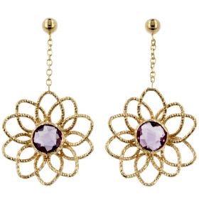Yellow gold flower earrings with amethyst