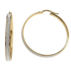 Yellow gold hoop earrings with glitter