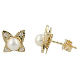 Butterfly earrings with cubic zirconia and pearls