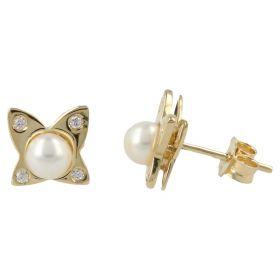 Orecchini a farfalla con perle e zirconi