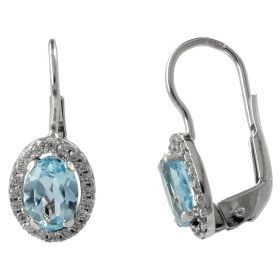 14kt white gold earrings with topaz and zircons | Gioiello Italiano
