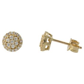 Yellow gold stud earrings with cubic zirconia