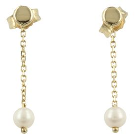 Pendant gold earrings with cultured pearls