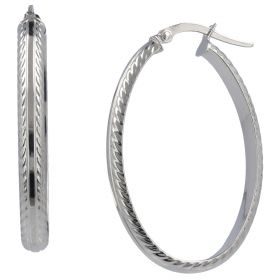 14kt white gold oval hoop earrings