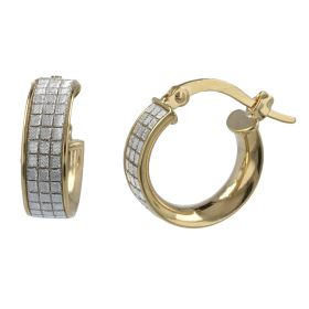 Small hoop earrings in yellow and white gold | Gioiello Italiano