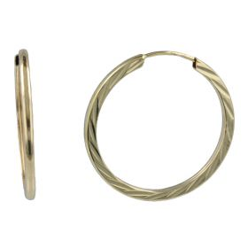 Yellow gold diamond-cut hoop earrings