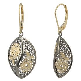 """Earrings """"Pizzo d'Oro"""" in yellow and burnished gold"""