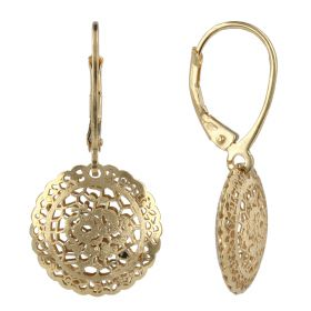 "Round 14kt gold earrings ""Pizzo d'Oro"""