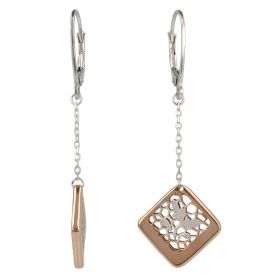 """Pendant earrings """"Pizzo d'Oro"""" in white and rose gold"""