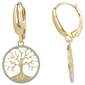 """Tree of Life"" earrings in yellow and white gold"