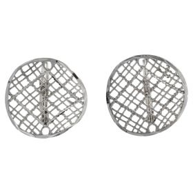 """Texture"" earrings in 14kt white gold"