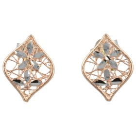 Rose gold earrings with white flowers