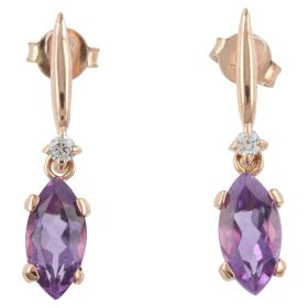 Rose gold earrings with marquise cut amethysts