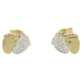 "Gold and zircon ""Baby Feet"" earrings 
