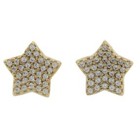 Yellow gold star earrings with zircon pavé