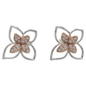 Orecchini in oro bianco e rosa a fiore | Gioiello Italiano