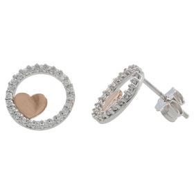 Gold earrings with circle and heart | Gioiello Italiano