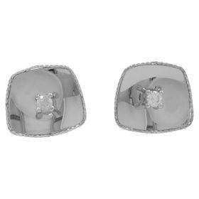 Glossy gold earrings with white zircon | Gioiello Italiano
