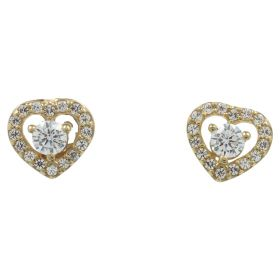 Heart earrings in yellow gold with zircons