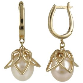 Earrings in 14kt yellow gold with cultured pearls