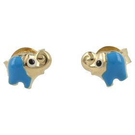 Yellow gold earrings with elephants