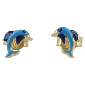 Dolphin earrings in yellow gold