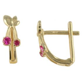 Earrings with cherries in yellow gold and zircons