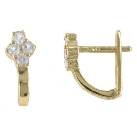 Yellow gold earrings with four zircons