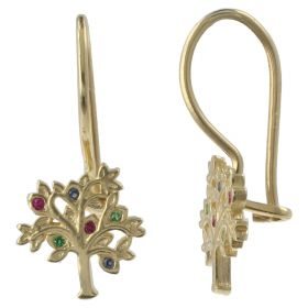 """Tree of Life"" earrings in yellow gold with colored stones"