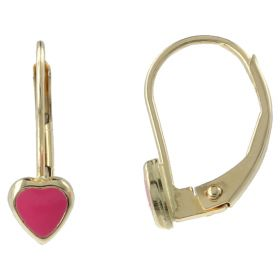 Yellow gold earrings with pink heart