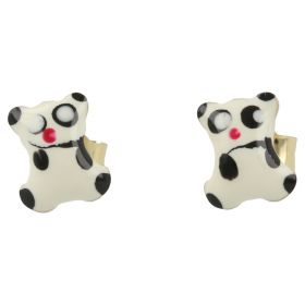 Yellow gold earrings with enameled panda