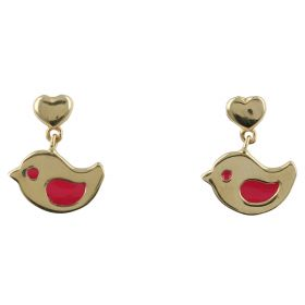"Earrings ""Little Birds"" in yellow gold and red enamel"