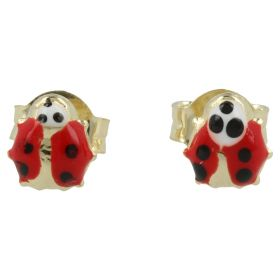 Yellow gold earrings with ladybugs