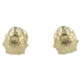 Yellow gold stud earrings with ladybugs