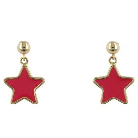 """Red Star"" yellow gold earrings"