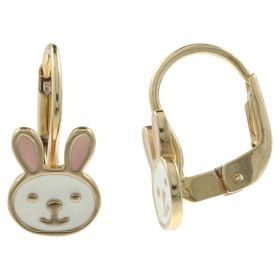 """Bunny"" earrings in yellow gold with enamel"