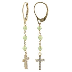 Rosary earrings in yellow gold and zircons