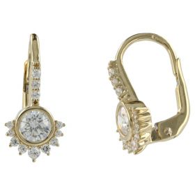 Yellow gold earrings with white zircons