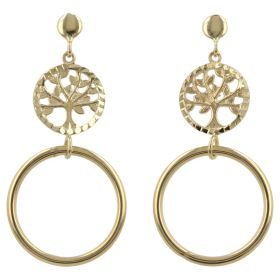 "Pendant earrings ""Tree of Life"" in 14kt yellow gold"