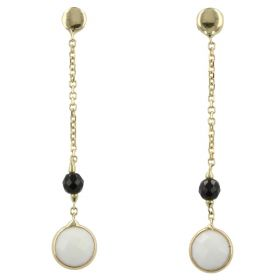 Yellow gold earrings with white agate and onyx