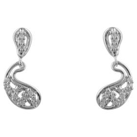 Earrings in 14kt white gold with zircons