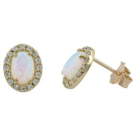 Yellow gold oval earrings with synthetic opal and zircons | Gioiello Italiano