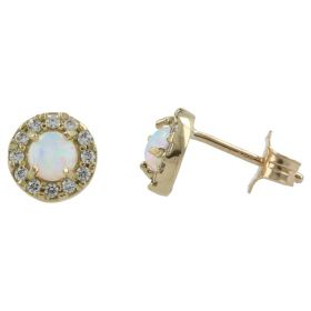 Round earrings in yellow gold with synthetic opal and zircons