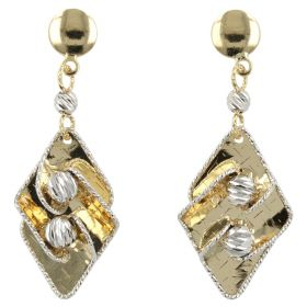 Rhombus earrings in 14kt yellow and white gold