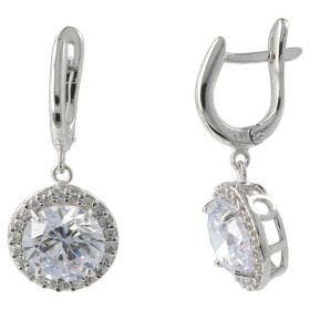 14kt white gold earrings with white zircons