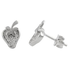 """Strawberry"" earrings in 14kt white gold with zircons"
